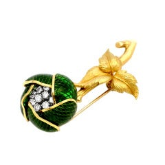 Mechanical Green Enamel And Diamond Flower Pin, French