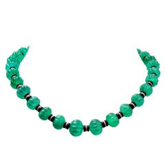 Carved Fluted Emerald Bead Onyx Rondelles Diamond Necklace