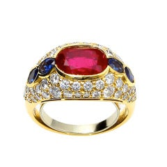 Bulgari Burmese No Heat Ruby, Sapphire and Diamond Ring