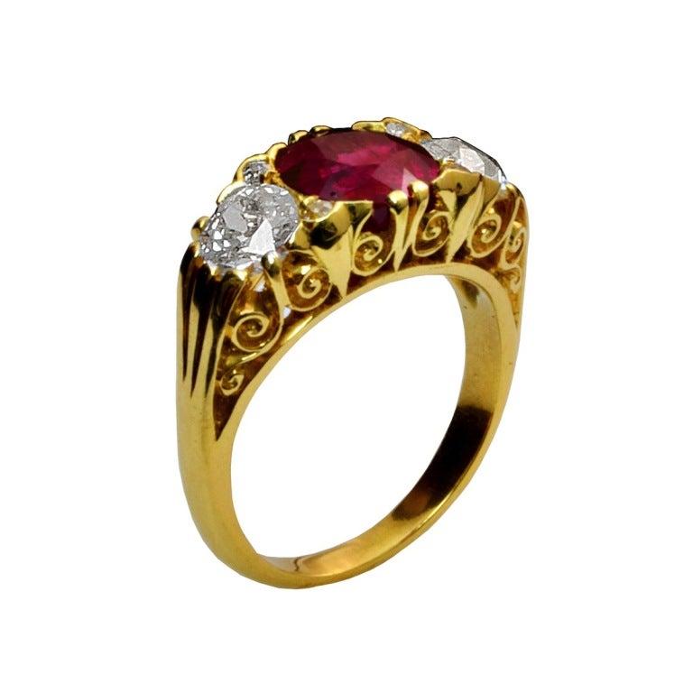 Three Stone Burma No Heat Ruby And Old European Diamond Filigree Ring 2