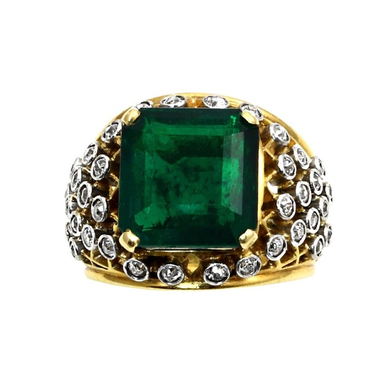 6.20 Carat Cartier Colombian Emerald No Oil Ring 2