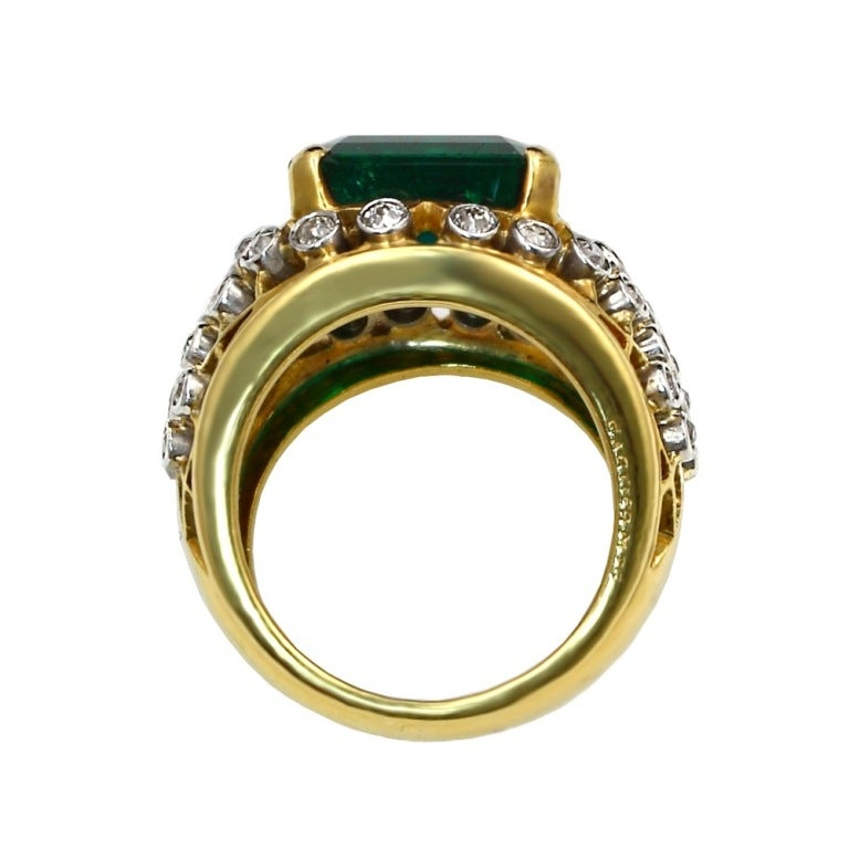 6.20 Carat Cartier Colombian Emerald No Oil Ring 3
