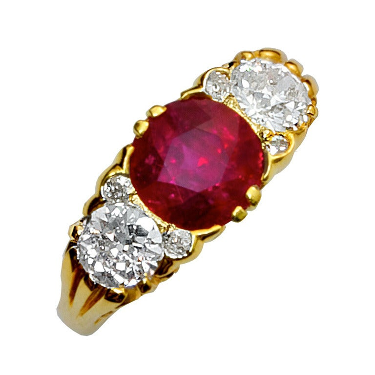 Three Stone Burma No Heat Ruby And Old European Diamond Filigree Ring 1
