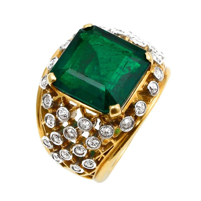 6.20 Carat Cartier Colombian Emerald No Oil Ring 1
