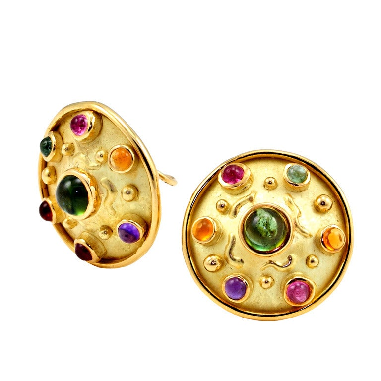 Multi Gem Textured Gold Earrings by Robergé