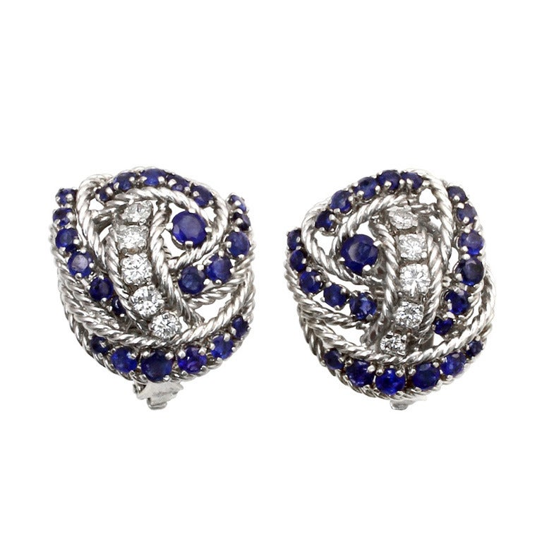 Tiffany And Co Sapphire Diamond Earrings At 1stdibs