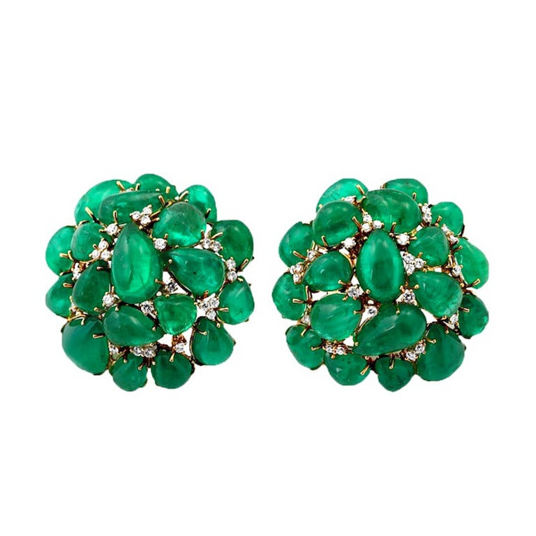 emerald cabochon cluster earrings at 1stdibs