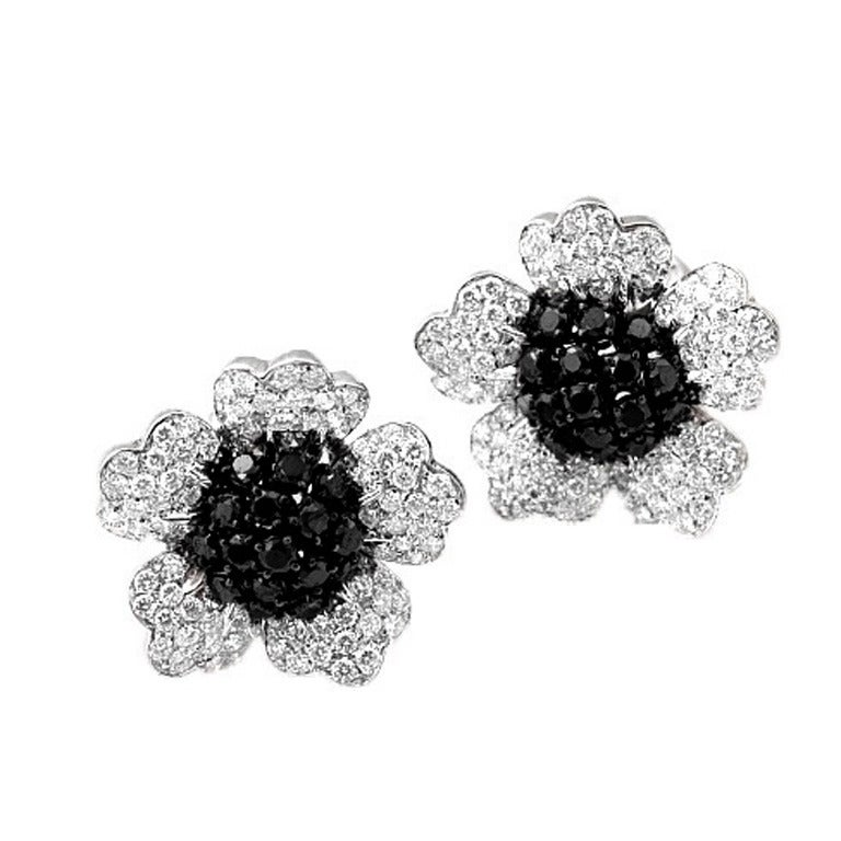 Black Diamond and White Diamond Floral Earrings For Sale