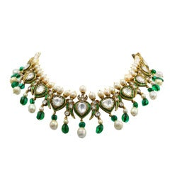 Vintage Indian Natural Pearl & Diamond Enamel Necklace