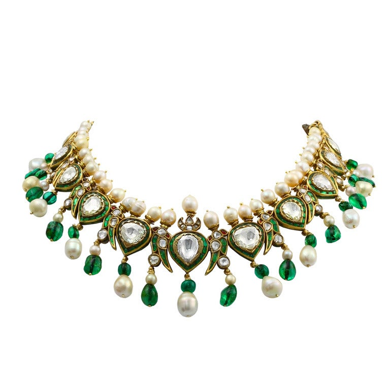 Vintage Indian Natural Pearl and Diamond Enamel Necklace