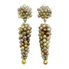 Fancy Color Diamond Chandelier Earrings