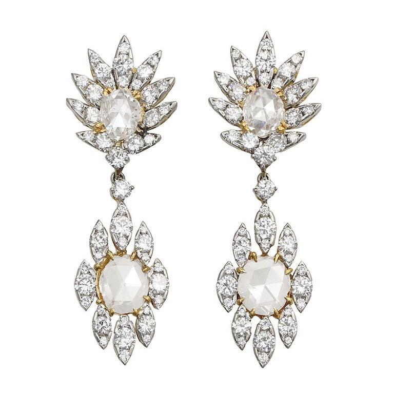 Rose Cut and Diamond Earrings