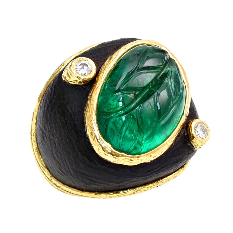 Carved Emerald Ebony Diamond Dome Ring