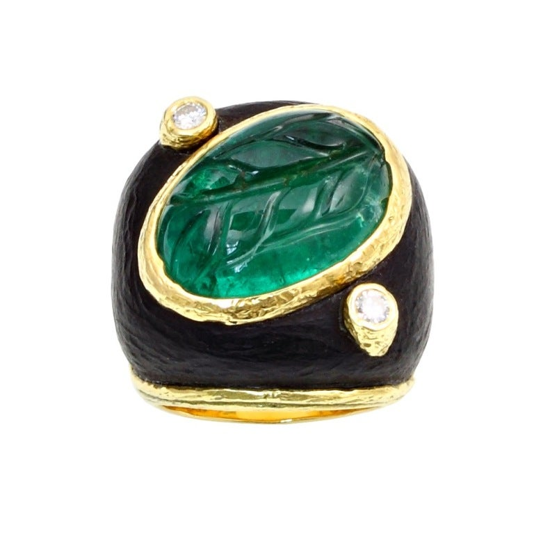 carved emerald dome ring for sale at 1stdibs