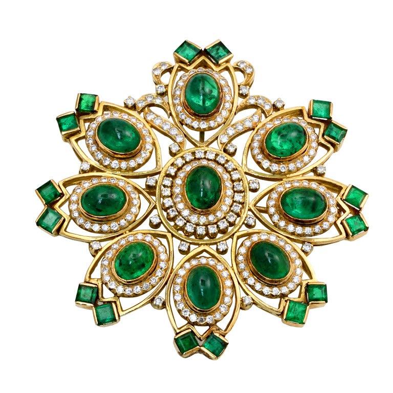 Emerald and Diamond Brooch