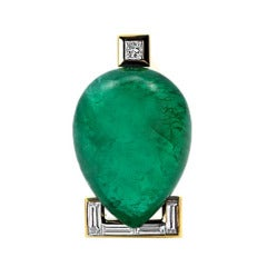 Emerald and Diamond Pendant by Christopher Walling