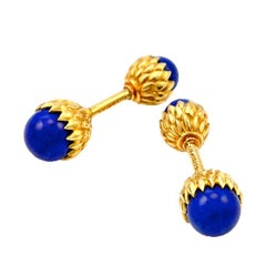 Tiffany & Co. Schlumberger Natural Lapis Lazuli Gold Acorn Cufflinks