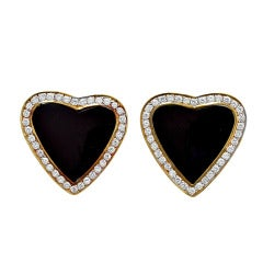 Black Onyx and Diamond Heart Earrings