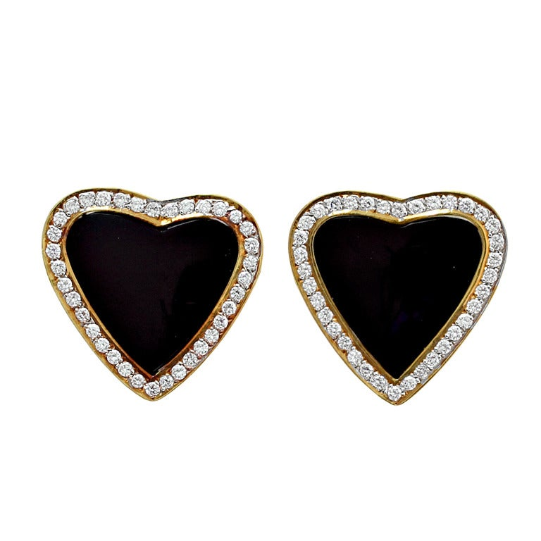 Black Onyx and Diamond Heart Earrings 1
