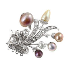 Natural Saltwater Pearl and Diamond Brooch
