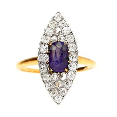 Purple Sapphire and Diamond Navette Ring