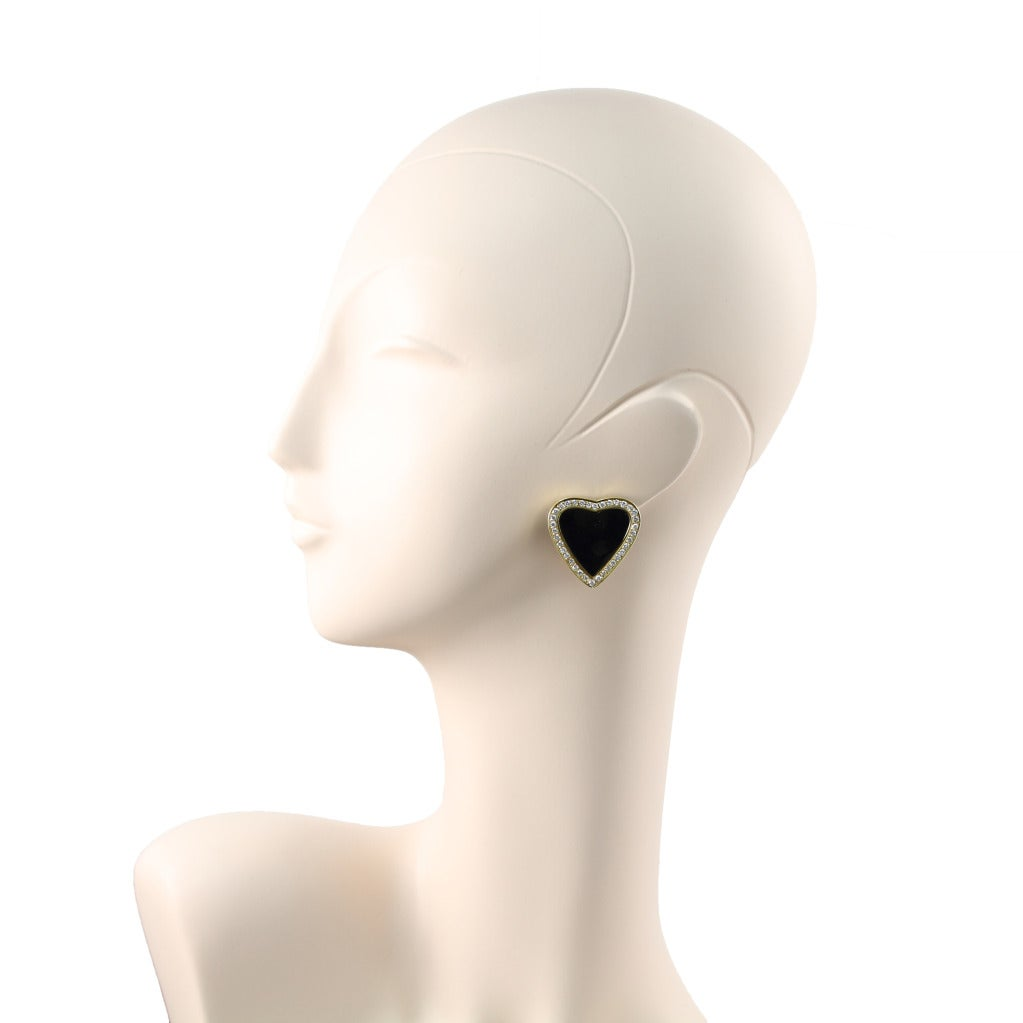 Black Onyx and Diamond Heart Earrings 2
