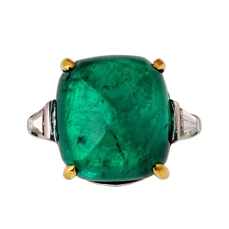 Emerald Sugarloaf and Diamond gold platinum engagement Ring