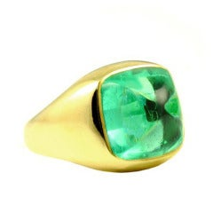 13.27 Carat Cushion Colombian Emerald Sugarloaf Cabochon Ring