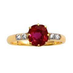 Old Russian 1.86 Carat Burma No Heat Ruby  Diamond Ring