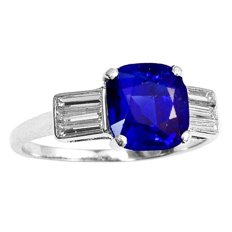 Art Deco Kashmir Sapphire Diamond Engagement Ring At 1stdibs