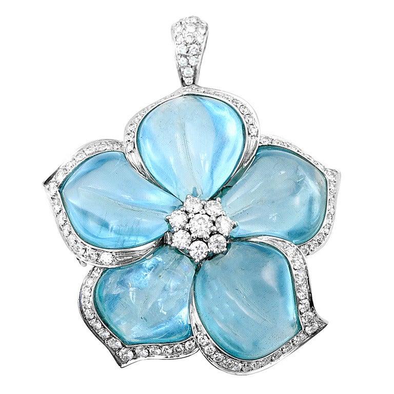 Aquamarine Diamond Flower Brooch By Ambrosi At 1stdibs