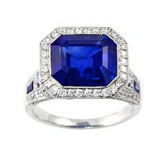Superb Sapphire Diamond Platinum Engagement Ring