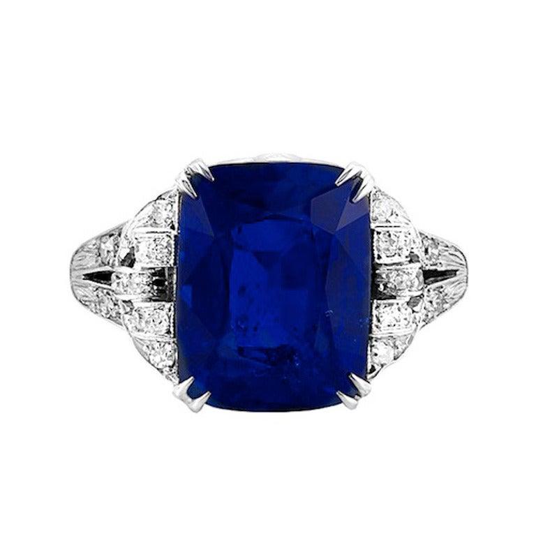 Art Deco Ceylon Blue Sapphire Diamond Platinum Ring 1