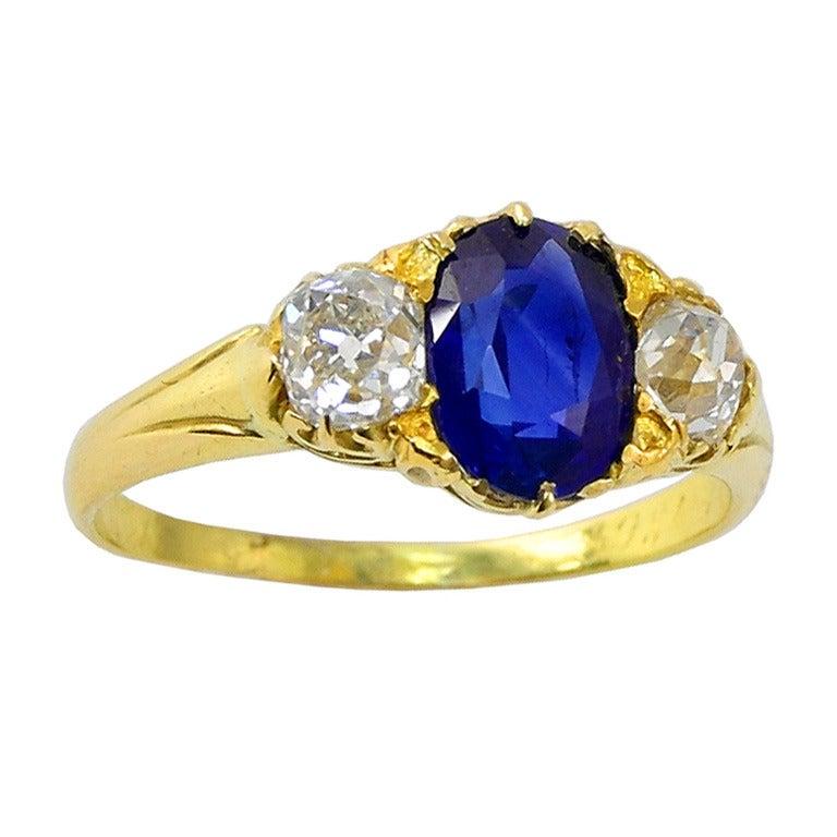 Victorian Sapphire Diamond Engagement Ring