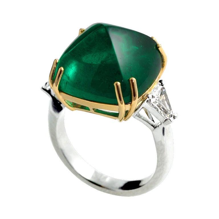 17.53 Carat Emerald Sugarloaf Diamond Engagement Ring