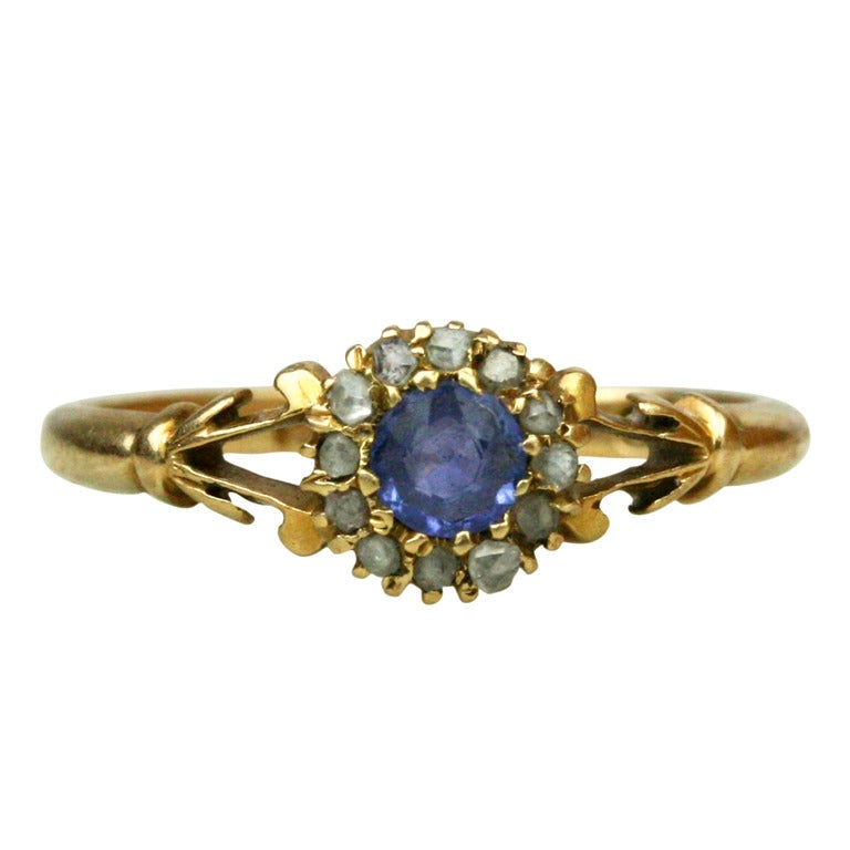 victorian sapphire and diamond halo engagement ring   1900