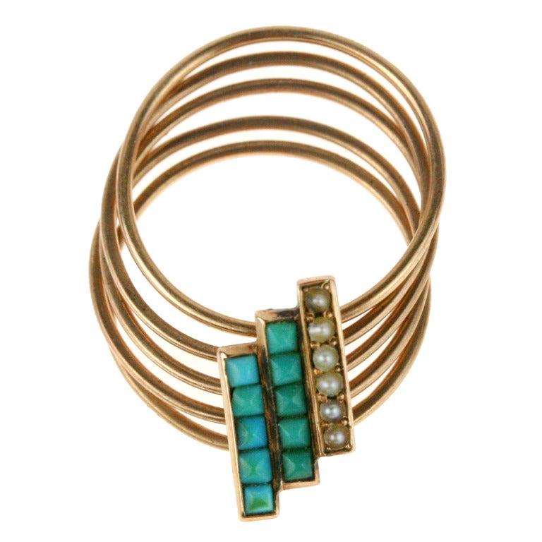 gold turquoise and pearl hinged ring at 1stdibs