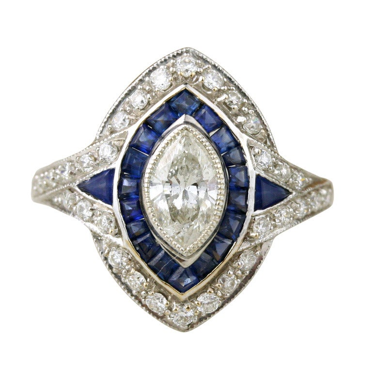 Art Deco Marquise Cut Diamond Sapphire And Gold Ring At