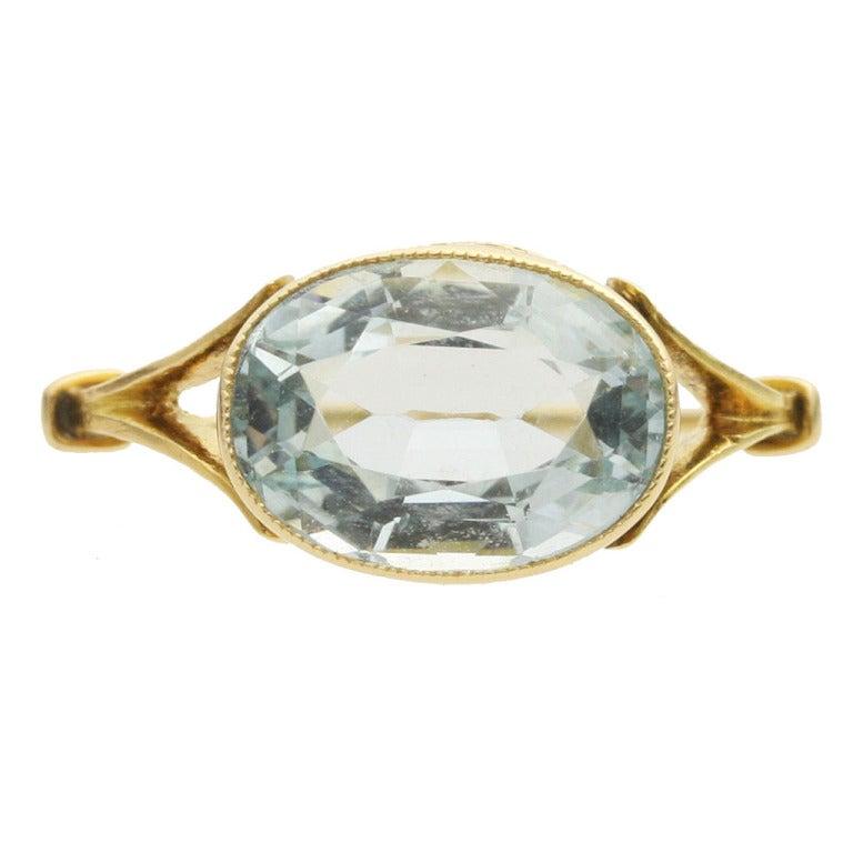 aquamarine gold ring at 1stdibs