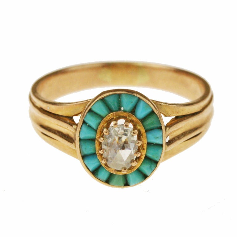 Victorian Gold, Turquoise, and Diamond Halo Ring In Good Condition For Sale In Madison area, WI