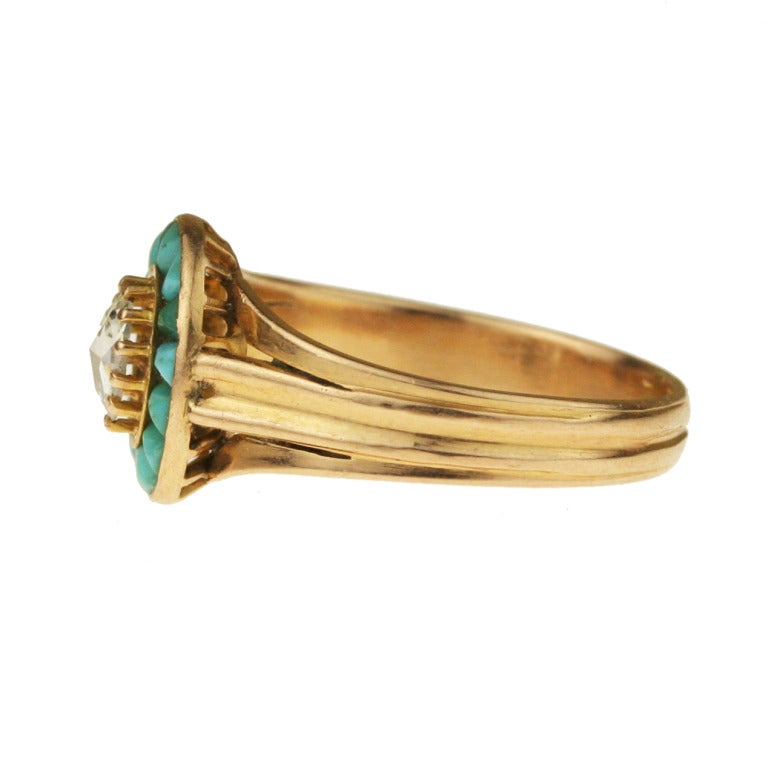 Women's Victorian Gold, Turquoise, and Diamond Halo Ring For Sale