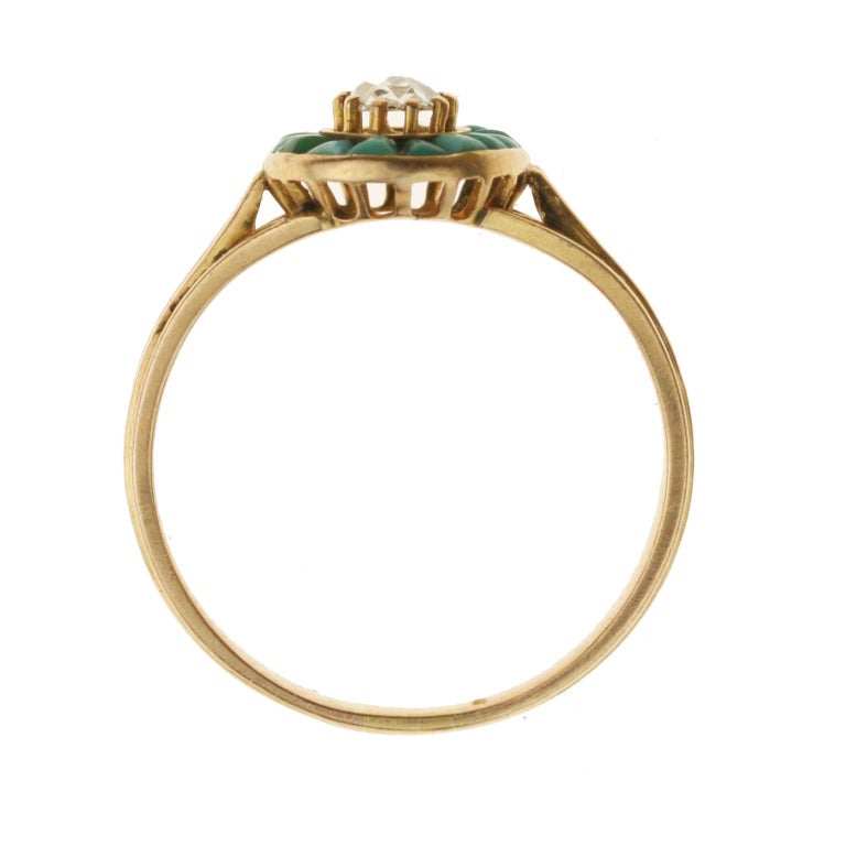 Victorian Gold, Turquoise, and Diamond Halo Ring For Sale 1