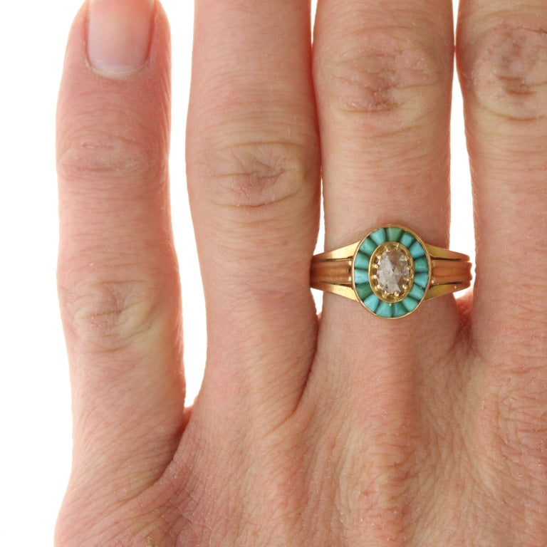 Victorian Gold, Turquoise, and Diamond Halo Ring For Sale 2