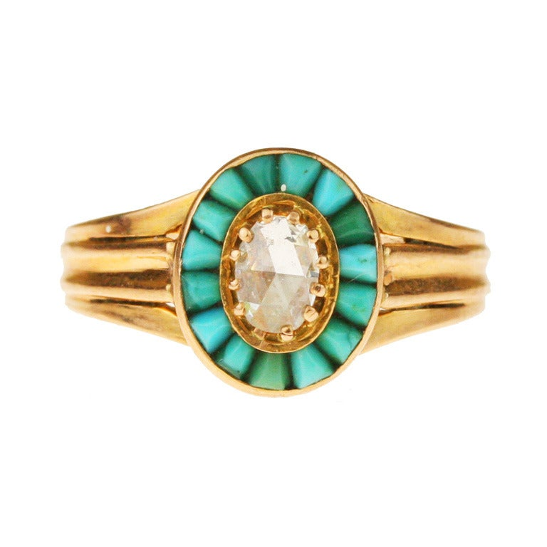 Victorian Gold, Turquoise, and Diamond Halo Ring For Sale