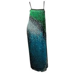 1970's Pauline Trigere Pareo or Wrap Style Silk Chiffon Dress and Shawl