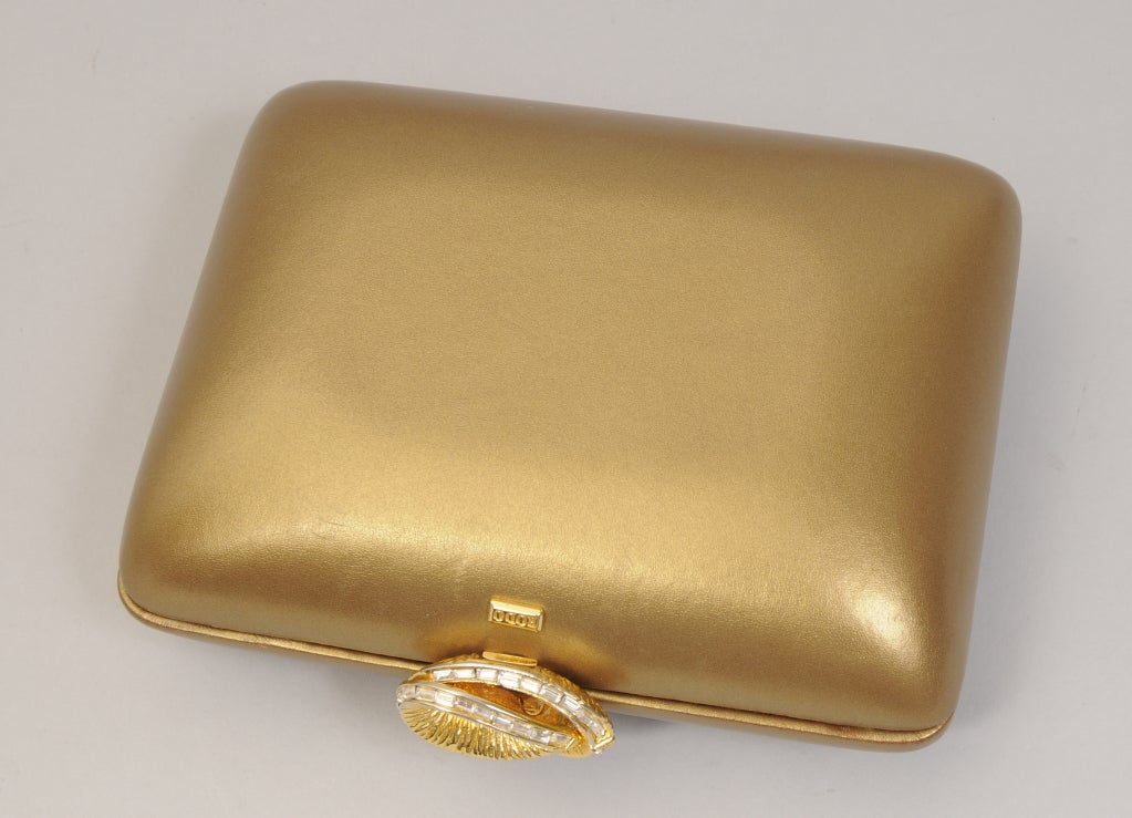 Rodo  Matte Gold Leather Clutch image 2