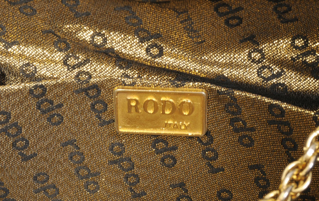 Rodo  Matte Gold Leather Clutch image 4