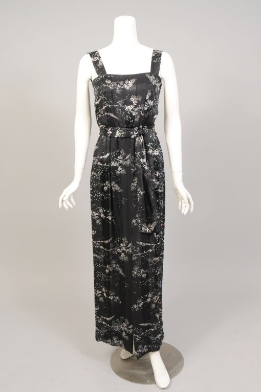 This is a gorgeous, sheer, ribbon weave silk chiffon dress with a pattern repeat so large that the front and back of this dress are completely different. That is why it is called a coming and going dress. The dress has wide straps and an