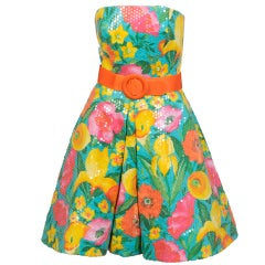 Scaasi Sequin on Floral Dress