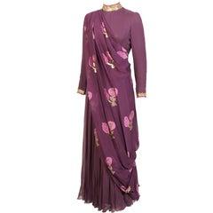 George Halley Beaded Aubergine Silk Chiffon Evening Dress 1970's
